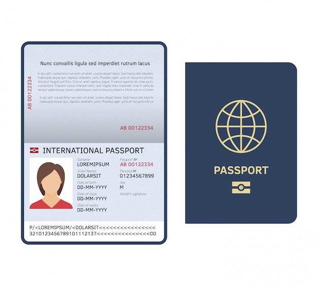 Documento de pasaporte. página de pasaporte de papel internacional de identificación con plantilla aislada de muestra legal de foto femenina