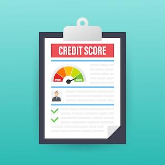 Documento de puntaje de crédito. cuadro de hoja de papel de información de puntaje de crédito personal.