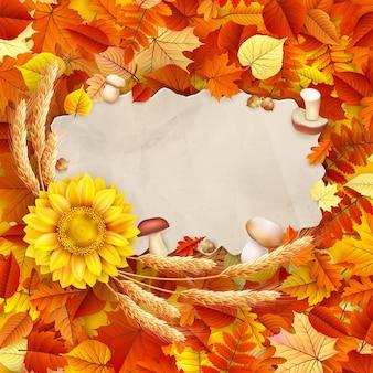Documento vintage otoño sobre hojas coloridas fondo copia espacio.