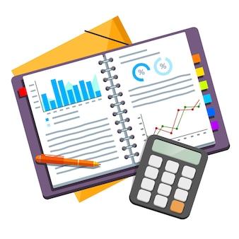 Documentos abiertos del plan de negocios en carpetas