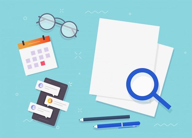 Documentos de análisis de investigación de auditoría de hoja de papel en blanco vacío para copiar texto de espacio