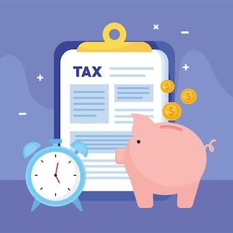Documentos del día de impuestos en el portapapeles con ilustración de alcancía y despertador