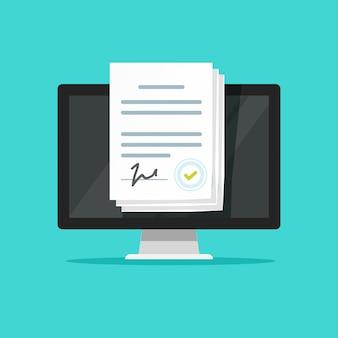 Documentos electrónicos en línea o contratos inteligentes con firma en computadora portátil