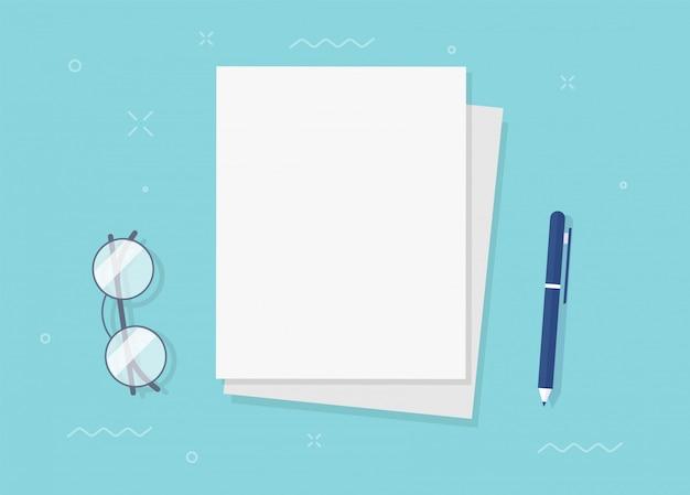 Documentos de la hoja de papel en blanco vacíos para copiar el texto del espacio en la vista superior del escritorio de la mesa del lugar de trabajo