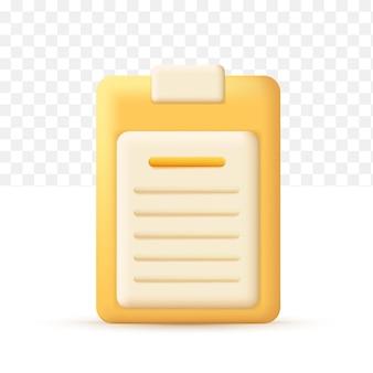 Documentos icono de tablero de papel pn. icono de negocio. ilustración de vector 3d sobre fondo blanco transparente