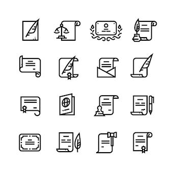 Documentos de permiso, certificado y pasaporte, licencia con iconos de líneas simples de caché