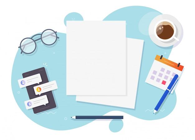 Documentos planos vacíos en blanco para copiar texto de espacio en la vista de escritorio de mesa de trabajo