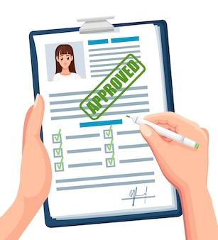 Documentos de solicitud con sello aprobado. solicitud aceptada o currículum. formulario en papel con casillas de verificación y foto. personaje . ilustración sobre fondo blanco.