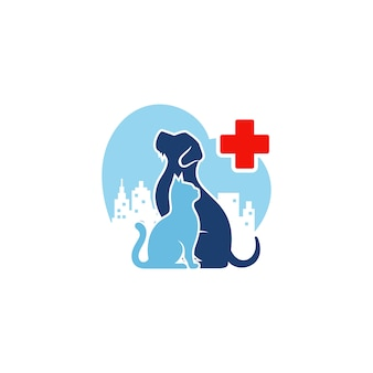 Dog cat logo template veterinaria