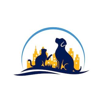 Dog cat logo template veterinaria