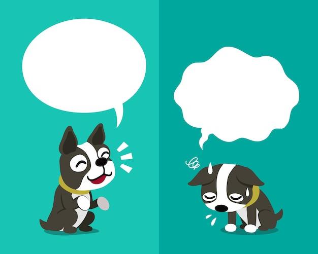 Dog perro terrier de boston expresando diferentes emociones con burbujas de discurso