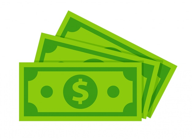Dólar billetes aislados en blanco