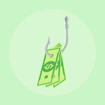Dólar en efectivo en el anzuelo de pesca