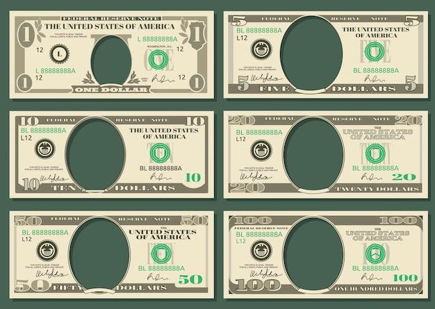 Dólar moneda notas vector dinero