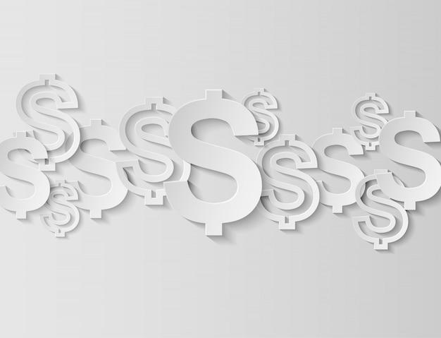Dólares firman sobre fondo blanco. luz y sombra, copia espacio. vector.