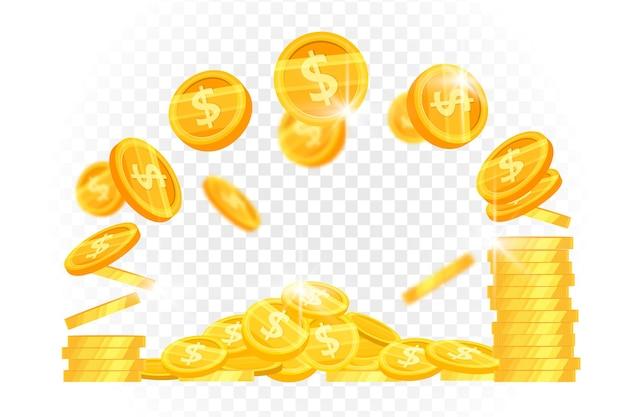 Dólares y monedas de oro volando apilan imágenes prediseñadas de finanzas vectoriales con dinero brillante levitando sobre fondo transparente.