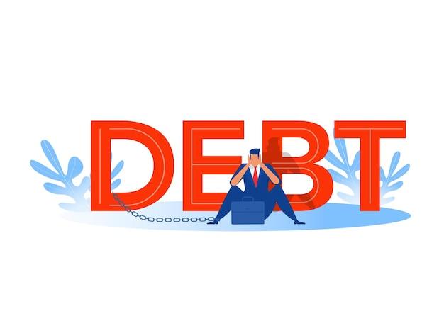 Dolor de cabeza de empresario, estrés, crisis financiera con fondo de palabra de deuda.