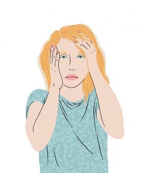 Dolor de cabeza por migraña, niña sosteniendo su cabeza, sintiéndose cansada, indefensa, alta temperatura, auto-aislamiento. ilustración.