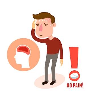 Dolor de cabeza de personaje enfermo