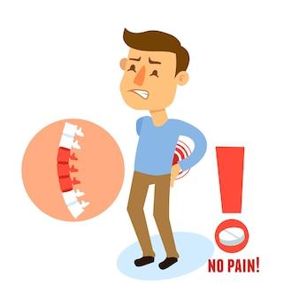 Dolor de espalda de personaje enfermo
