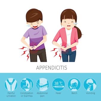 Dolor de estómago de niño y niña debido a apendicitis