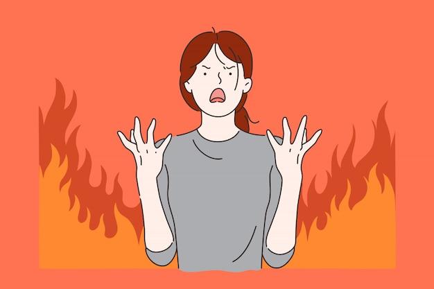 Dolor menstrual, concepto de estrés.