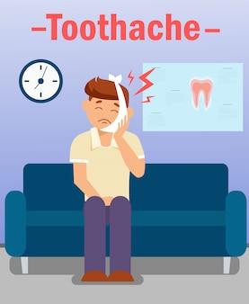 Dolor de muelas, concepto de vector de problema de dientes