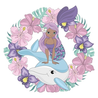 Dolphin wreath floral mermaid animal