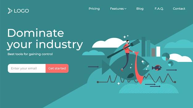 Domine su diseño de plantilla de página de destino de ventas de ilustración vectorial plana de la industria