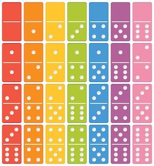 Dominó colorido conjunto de elementos
