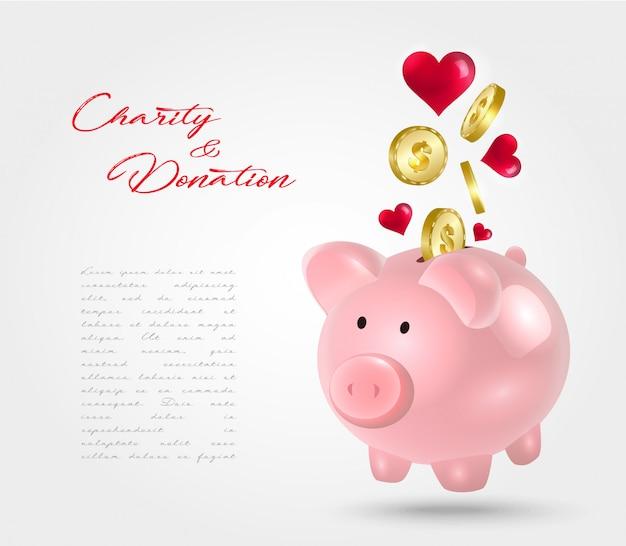 Donación de caja de dinero. concepto de caridad.