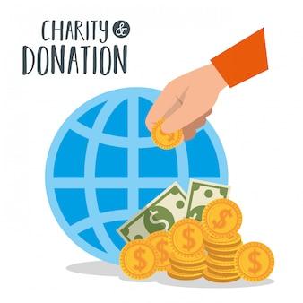 Donación de caridad con esfera y monedas.