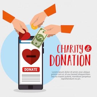 Donación de caridad en línea con teléfono inteligente