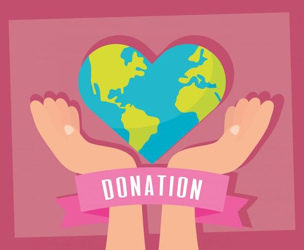 Donación de caridad planeta tierra con forma de corazón