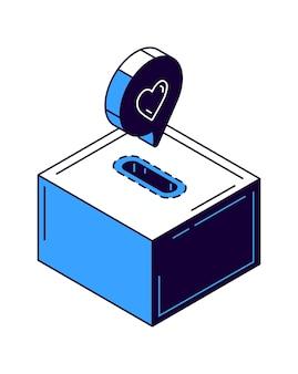 Donación, icono de hucha con ilustración isométrica de corazón