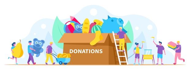 Donación, ilustración de caridad, la gente recoge cosas diferentes en una gran caja de donación.