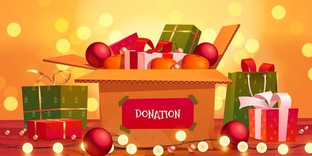 Donación de navidad de dibujos animados