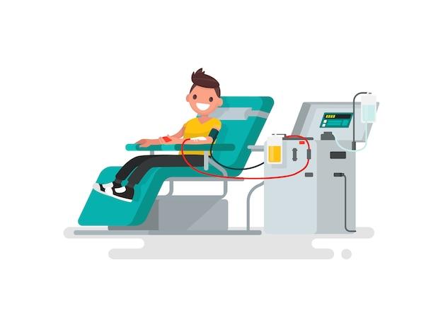 Donación de sangre. el hombre dona ilustración de sangre