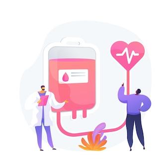 Donación de sangre. personajes de dibujos animados de médico y paciente. voluntario donando sangre para transfusión en el hospital. asistencia sanitaria, laboratorio, donante.