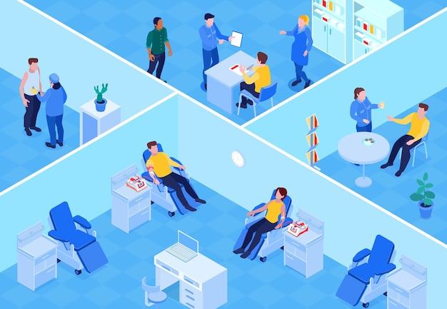 Donación de sangre, ubicación, vista isométrica, donantes en instalaciones separadas, personal médico, registro de detección, realización de procedimiento, ilustración