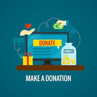 Donaciones online con laptop.
