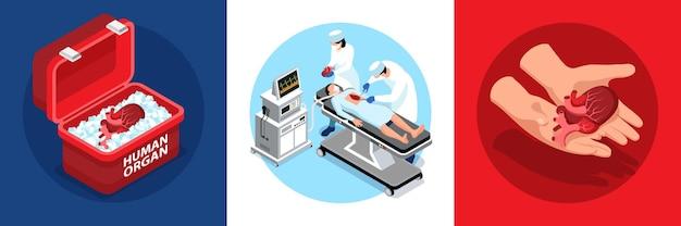 Donante isométrico de órganos humanos composiciones redondas.