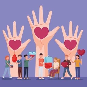 Donantes personajes con sangre y corazones.