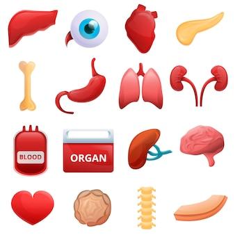 Donar conjunto de órganos, estilo de dibujos animados.