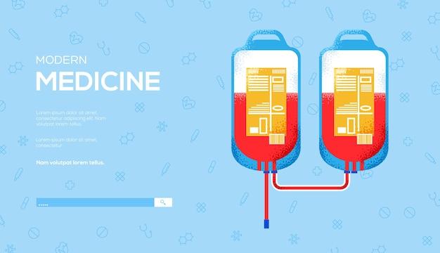 Donar folleto de concepto de sangre, banner web, encabezado de interfaz de usuario, ingresar al sitio. .