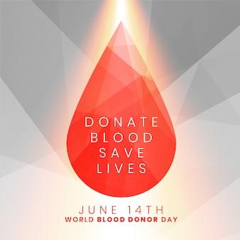 Donar sangre salvar vidas concepto gota de sangre