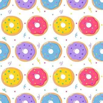 Donas pastel dulce verano postres de patrones sin fisuras con diferentes tipos para cafetería o restaurante