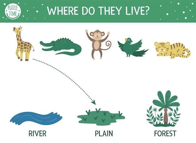 Dónde viven. actividad de emparejamiento para niños con animales tropicales y el lugar en el que viven. divertido rompecabezas de la jungla. hoja de trabajo de prueba lógica.