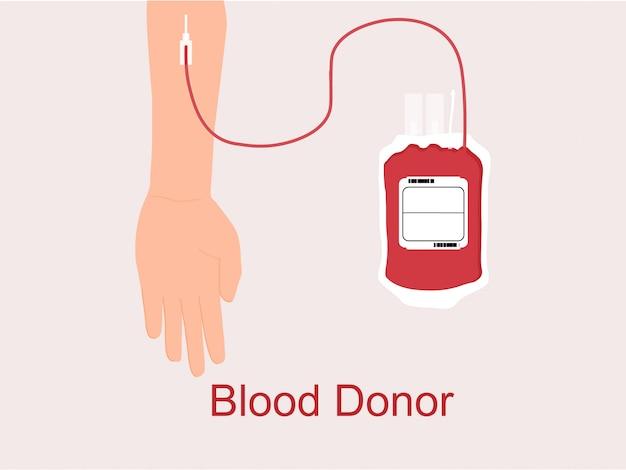 Done sangre con la mano y la bolsa de sangre. concepto del día mundial del donante de sangre