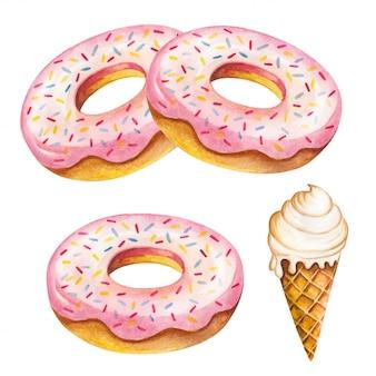 Donut acuarela aislado sobre fondo blanco.